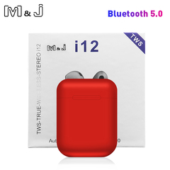 Original i12 TWS Touch Key Mini Wireless Earphone Bluetooth 5.0 Headset for Android xiaomi Iphone red