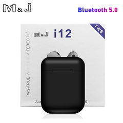 Original i12 TWS Touch Key Mini Wireless Earphone Bluetooth 5.0 Headset for Android xiaomi Iphone black