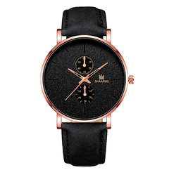 Men's fashion quartz watch leather simple trend watch quartz watches 2