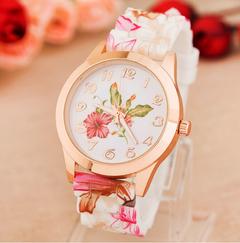 Fashion Women Girl Watches Silicone Printed Flower Causal Quartz Wrist ladies Watches feminino mujer 1