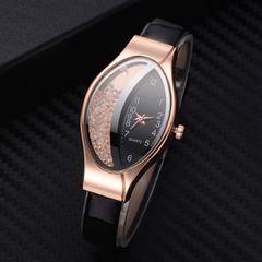 Women Fashion Luxury Watches Leather Strap Women Bracelet Clock Ellipse Rhinestone PU Sport Quartz black