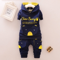 Boys Clothing Sets Long sleeve Cartoon hoodies baby kids suits 2 pcs clothing sets children clothes blue 80#