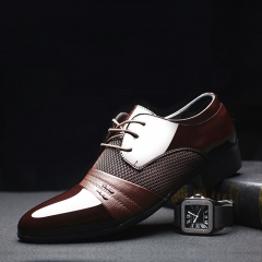Classical Men Dress Flat Shoes Luxury Men's Business Oxfords Casual Shoe Leather Derby Shoes brown 38
