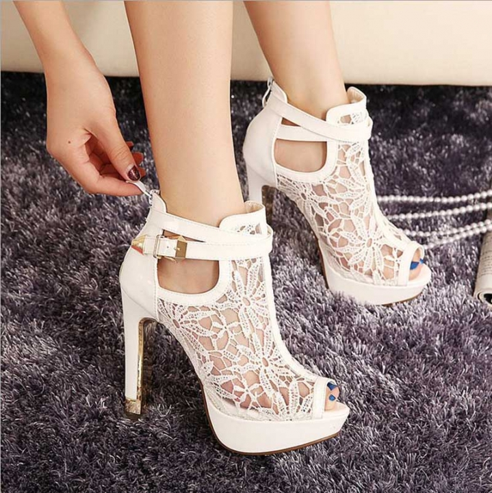 Summer Women Super High Heel Wedding Pumps 12cm Peep Toe Sweet