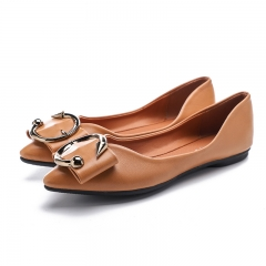 Women Casual Pointed Toe Black Oxford Shoes Flats Metal buckle cloth Comfortable Slip on Shoes brown 35