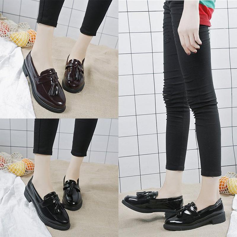 760aa9e3b73 Round Toe British Style Women Shoes Vintage fringe Patent Leather ...