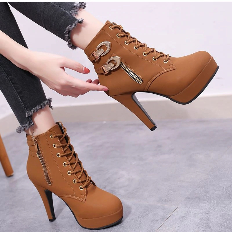 146463405 Women Ankle Boots Platform High Heels Female Lace Up Shoes Buckle ...