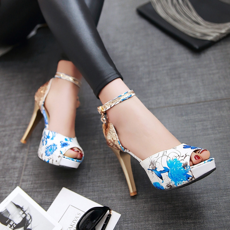 562103111564 new high-heeled fish mouth shoes flower sexy rough with waterproof ...