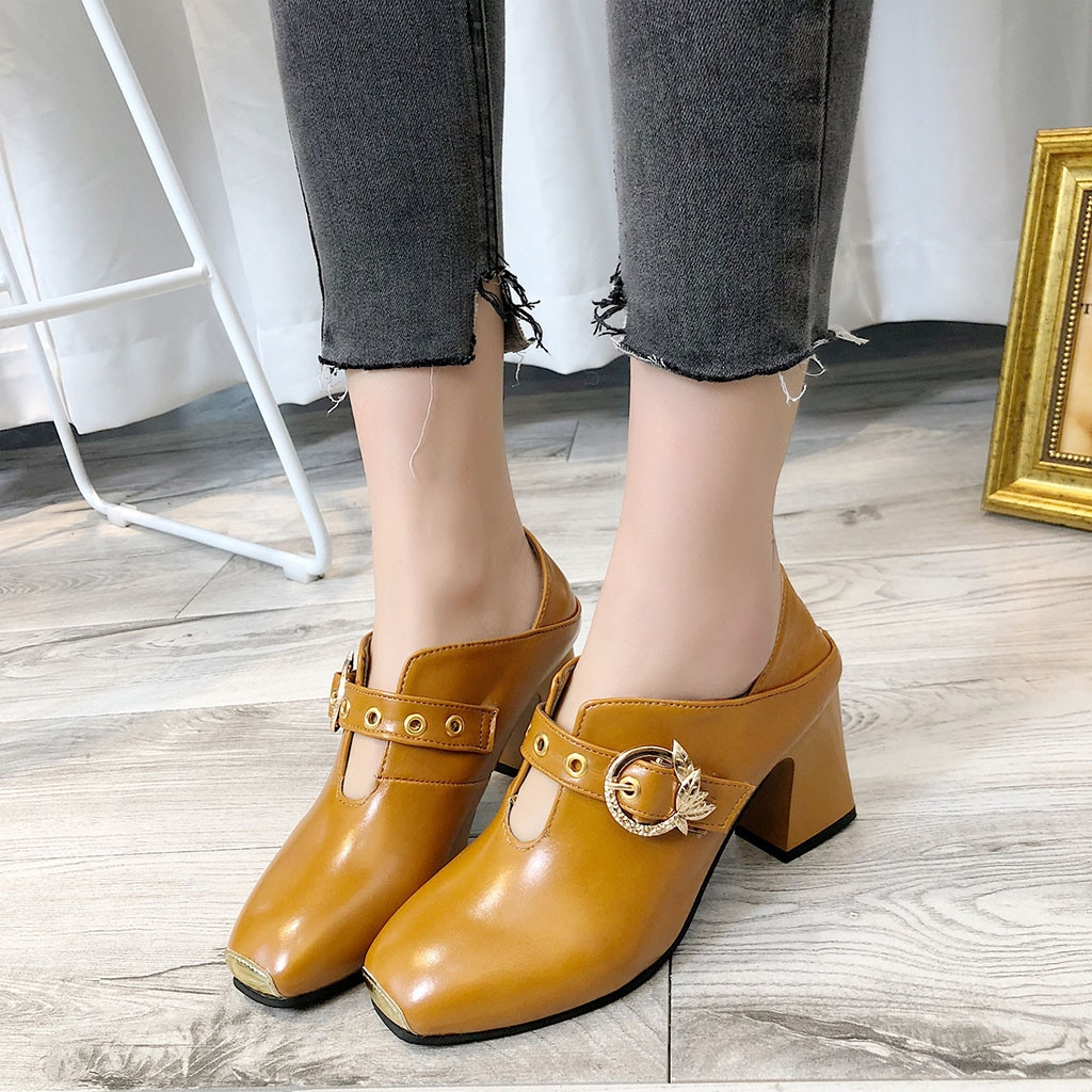 eff34d997 High Heels Shoes Woman Leather Slip-On Square Toe Work Shoes ...