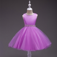 Children's Princess Dress Formal Hand-Stitched Sleeveless Belt Dress Flower Girl Skirt purple 70cm