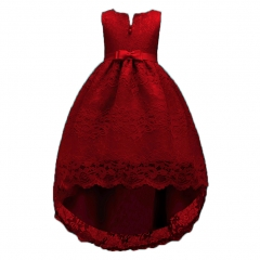 Children's Bud V-neck Princess Dresses Big Bow Dress Little Girls Skirts wine red 110cm