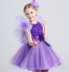 Princess Skirt Mesh Skirt Sleeveless Bow Rose Dresses Little Girls Clothes purple 110cm