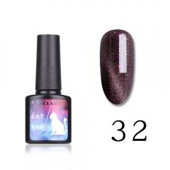 LULAA New Style Color Makeup Nail Polish Starry Cat Eye UV Gel Nail Polish 8ml 32#