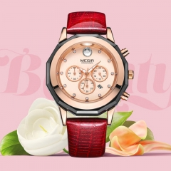 MEGIR New Ladies Watch Fashion Leather With Calendar Quartz Wristwatches red