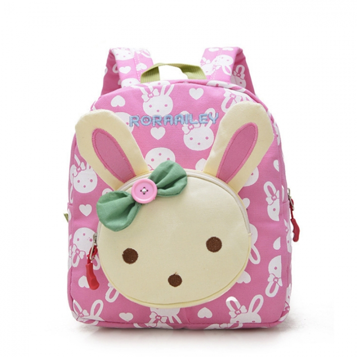 New Lovely Kids School Bags Rabbit Bear Dolls Canvas Backpack Little Baby Environmental Book Bag pink rabbit one size