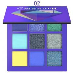 CmaaDu 9 Color Eyeshadow Diamond Bright Eye Shadow Palette Shiny High Gloss Eyeshadow 02