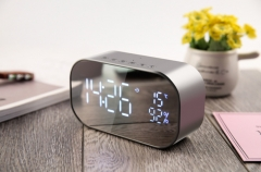 S2 Wireless Bluetooth Speaker LED Display Clock Bluetooth Audio Card Computer Speaker system silver grey 6W one size