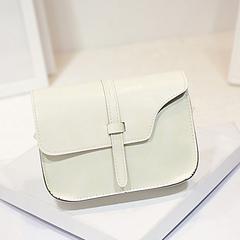 2019 New Women's Bag Fashion Retro PU Small Bag Belt Corner Single Shoulder Messenger Bag Handbag Rice white one size