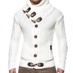 Solid color slim front button-knit men's cardigan white S