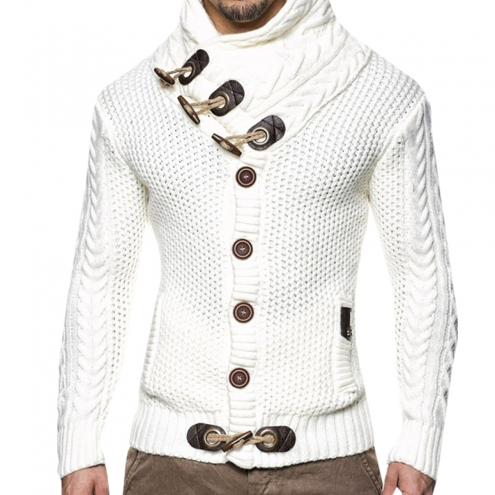 Solid color slim front button-knit men's cardigan white S