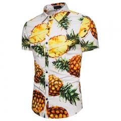 "Men's ""Pineapple"" beach style fashion woven summer short-sleeved shirt white M"