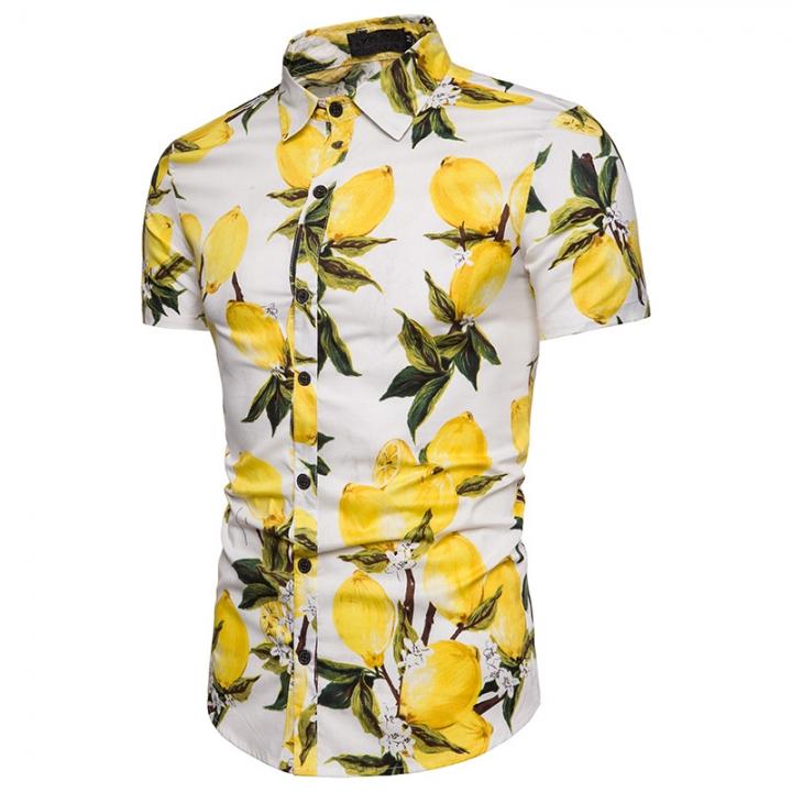 Men's big lemon beachside fashion summer holiday leisure short-sleeved shirt white l