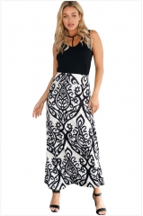 New arrival island vacation style New high waist floral print bohemian long skirt black-white S