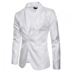 2018 new Palace-style dark-grained one-button slim men's leisure nightclub suit coat white L