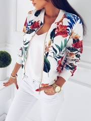 Women Fashion Ladies Retro Floral Zipper Up Bomber Jacket Casual Coat Autumn Outwear white m