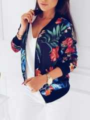 Women Fashion Ladies Retro Floral Zipper Up Bomber Jacket Casual Coat Autumn Outwear blue s