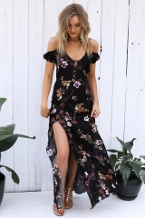 2018 new sexy island style deep V sling shivering split tee dress home dress as picture s