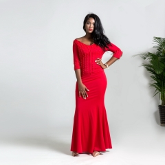 Celebrities' choice: slim-looking V-neck fishtail hem beaded sleeves dragged long skirt red xxl