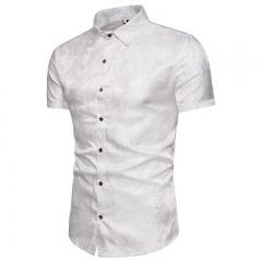Nightclub shining essential dark-grained decorative men's shirts short sleeve lining white m