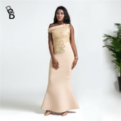 2018 hot sale hot style space layer oblique shoulder sequined slim fishtail long evening dress champagne xl