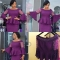 New beaded slim top + half and bottom pencil skirt suit purple xxl