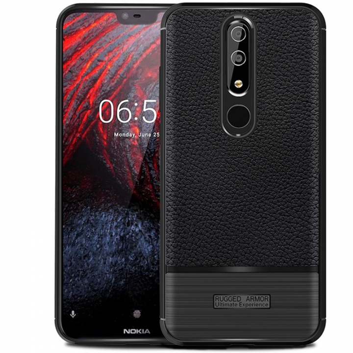promo code f8951 d139a Nokia 6.1 Plus (Nokia X6) Litchi Pattern Leather Rugged Shockproof Soft TPU  Protective Cover Case Black for Nokia 6.1 Plus (Nokia X6)