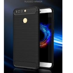 Shinwo Huawei Honor 8 Pro Case Rugged Armor Carbon Fiber Soft TPU Shockproof Protective Case Black for Huawei Honor 8 Pro Smartphone 5.7''