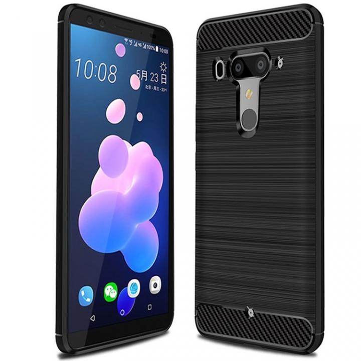 new arrival d74d2 4b36b Shinwo HTC U12 Plus Smartphone Rugged Armor Carbon Fiber Soft TPU Shock  Proof Protective Case Cover black for HTC U12 Plus
