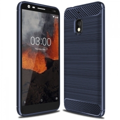 Nokia 2.1 Smartphone Case Rugged Armor Carbon Fiber Soft TPU Shockproof Protective Case Black for Nokia 2.1