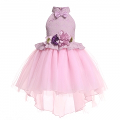 Girls Lace Dress Flower Girl Dresses Children Bow Tuxedo Dresses Purple 100cm