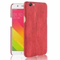 Shinwo OPPO F3 Vintage Wood Grain PC Hard Shell [Drop-Protection] Phone Case Red for OPPO F3