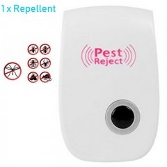 [1-Pack]-Ultrasonic Non-toxic Safe Pest Reject Repeller Home multi-function Mosquito Repellent White 90×56×50mm