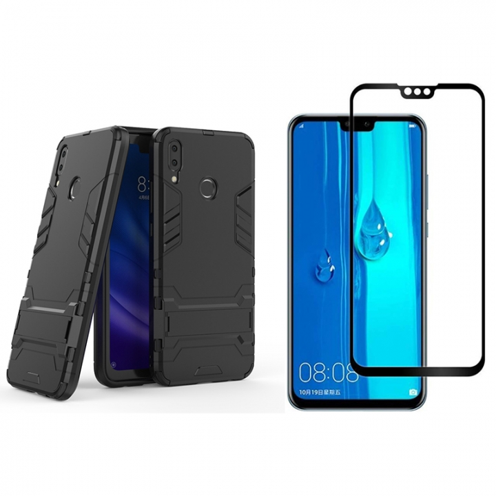 sports shoes 85b81 74241 [1-Pack] Huawei Y9 2019 Phone Case + Y9 2019 [9H Full Cover Tempered Glass]  Screen Protector Black for Huawei Y9 2019 Smartphone