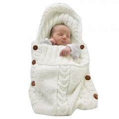 Newborn Baby Wrap Swaddle Blanket Knit Sleeping Bag Sleep Sack Stroller Wrap for Baby (0-6 Month) white One size