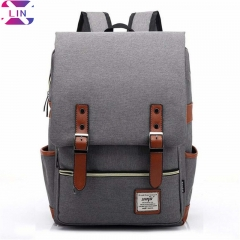 XLIN Canvas Backpack - Lightweight Laptop Backpack, Vintage Travel Backpack with Laptop Campus gray One piece