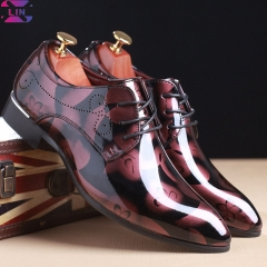 XLIN Brand Pointed Fashion Men'S Leather Shoes, Business Dress Shoes Red aristocratic gesture 39