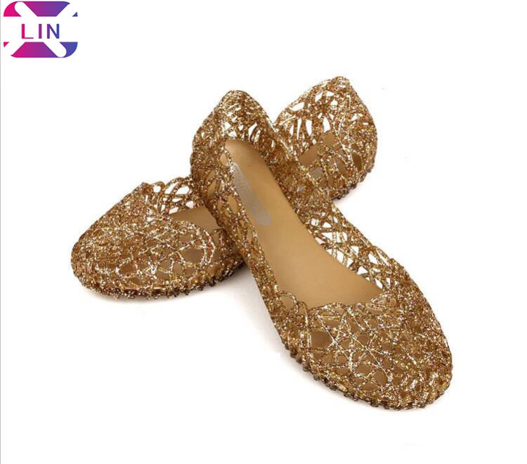 ad8d62de0765 XLIN Hollow Bird S Nest Sandals Shiny Crystal Jelly Shoes Flat Hole Shoes  Beach Shoes Gold 36  Product No  574685. Item specifics  Brand
