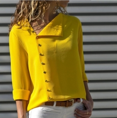 XLIN Fashionable 9-Color Button Irregular Long-Sleeved Blouse Shirt With Inclined Collar yellow s