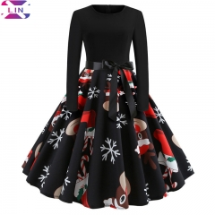 XLIN Christmas Print Long Sleeve Dress JY13118 l