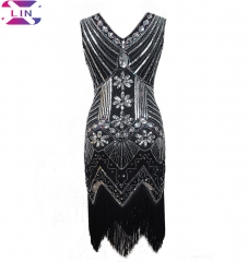 XLIN Fashion Fringed Dress With V-Neck Around Sequined Nailed Beads Dress black s